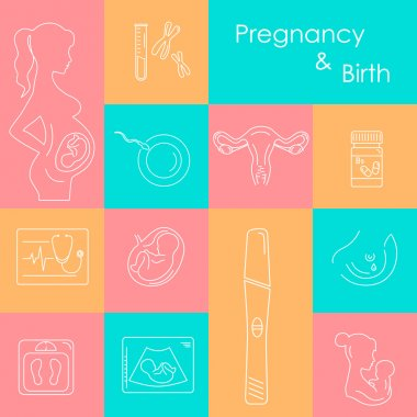 Medicine and pregnancy vector icons set.