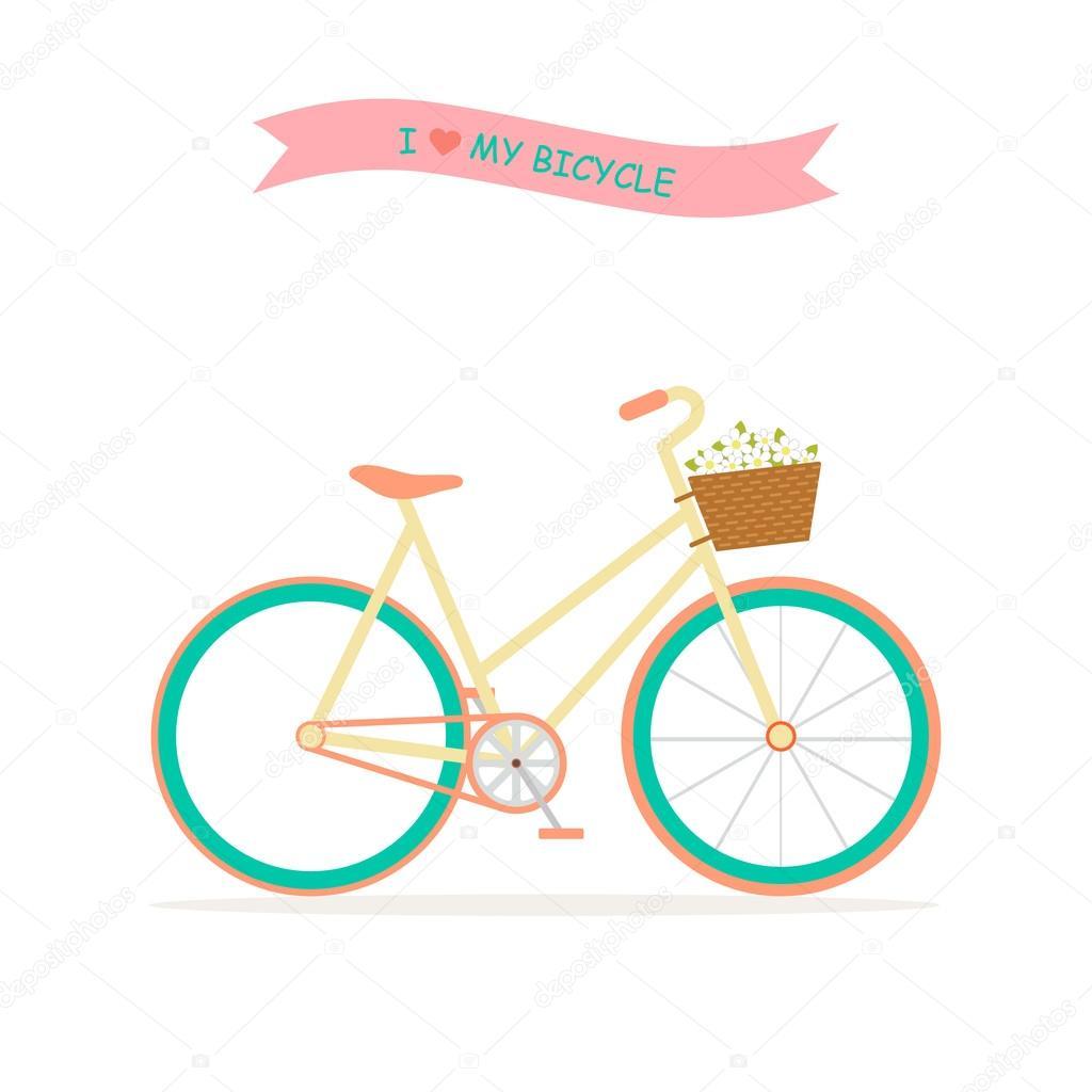 自転車と花のイラスト ストックベクター Createrosalia 98603714