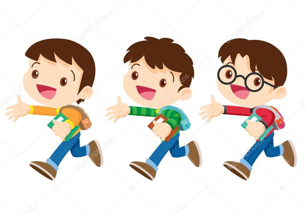 Dibujos Animados De Niño De Escuela Caminando