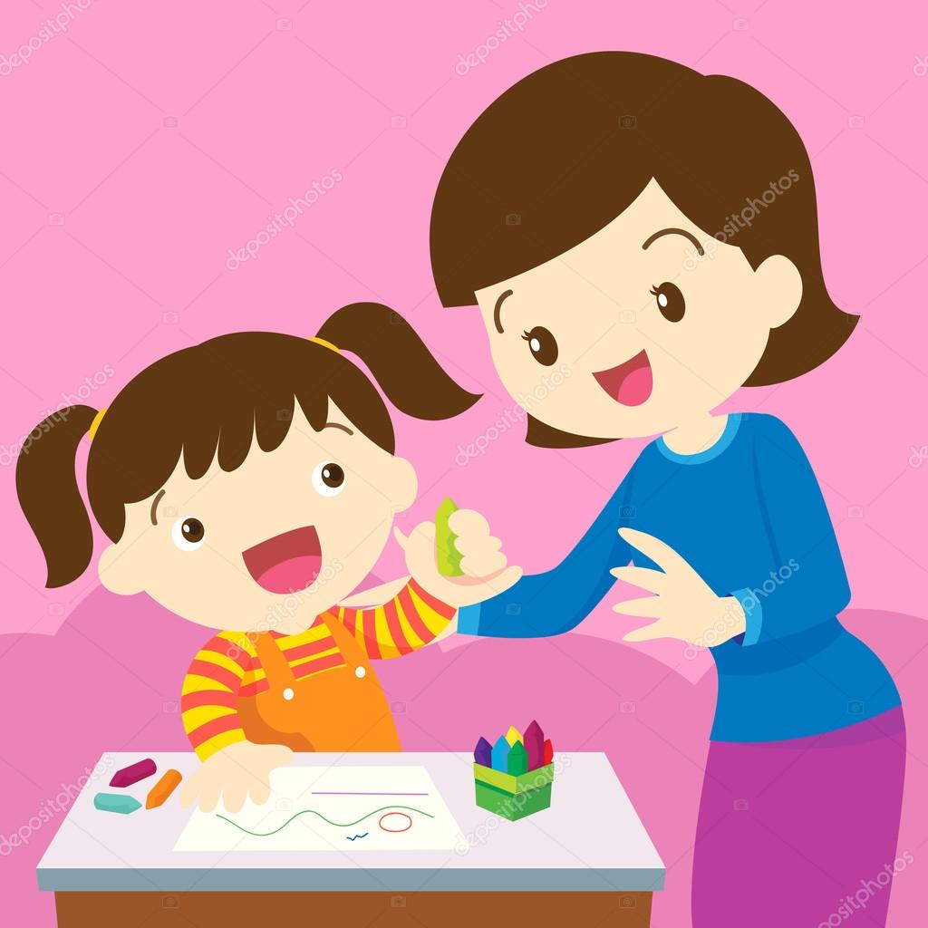 Dibujos Dibujo Madre E Hijo Madre E Hijo De Dibujo Vector De