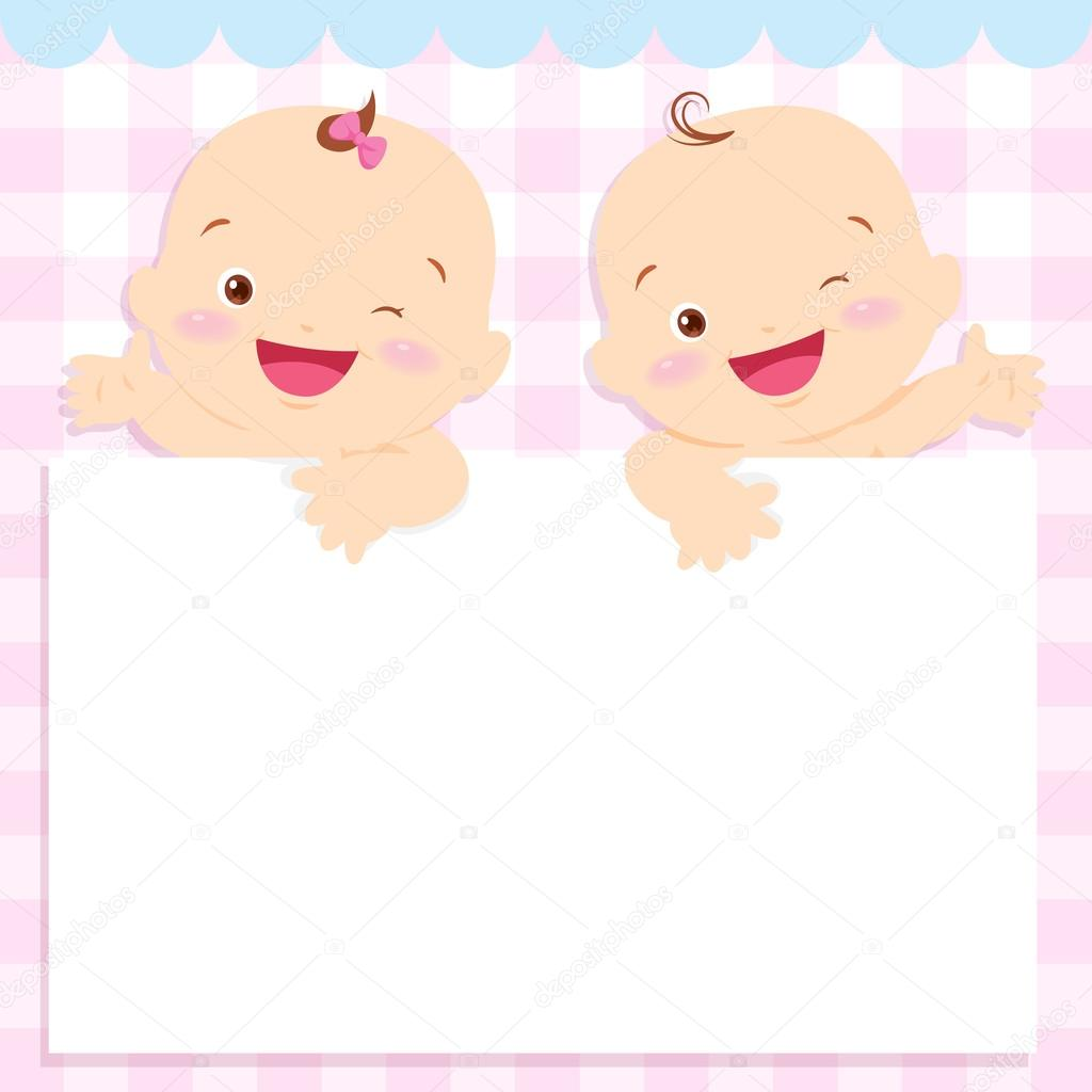 marco de bebé niño y niña espacio — Vector de stock © watcartoon ...