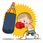 Photo muaythai sandbag boxing hit