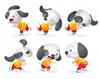 cute dog character action
