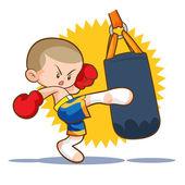 Photo muaythai sandbag boxing kick