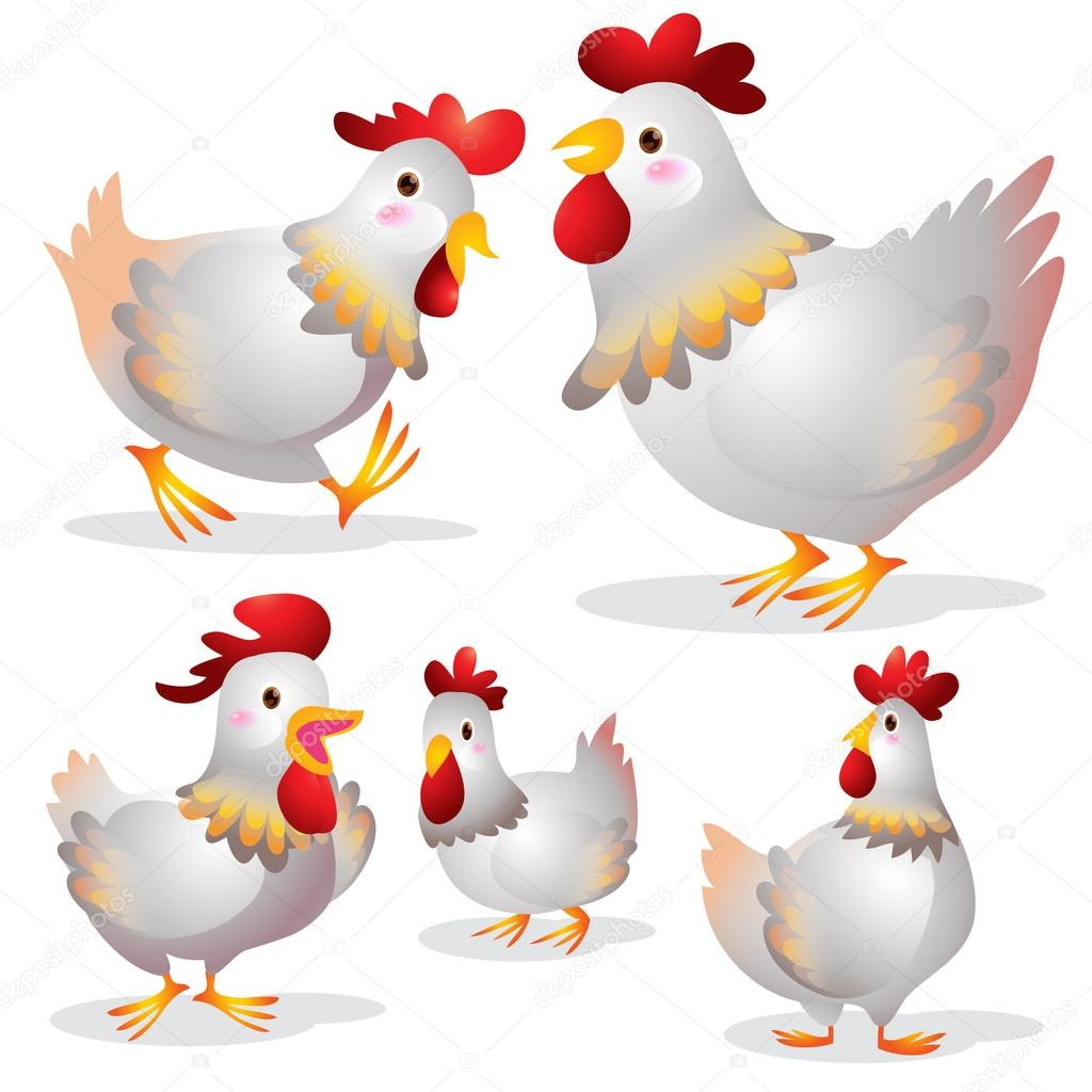 Dessin Animé Poule dessin animé mignon poule — image vectorielle watcartoon © #92663142