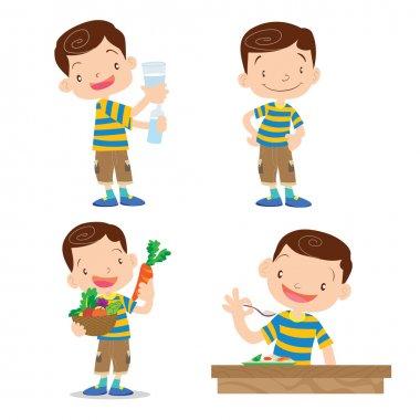 Cute boy character cartoon many action.