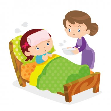 Mother taking the temperature of sick daughter at home in the bedroom clip art vector