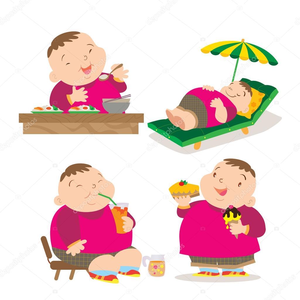 Ragazzo grasso sveglio mangiare azione — vettoriali stock