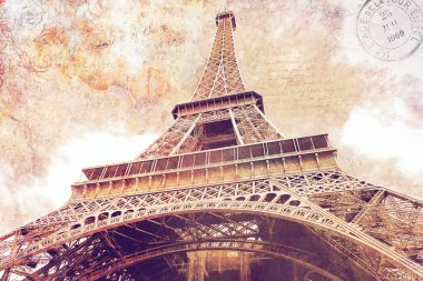 Eiffel Tower Paris, Postcard, Digital Art