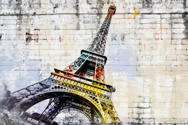 Abstract digital art of Eiffel Tower in Paris. Street art.