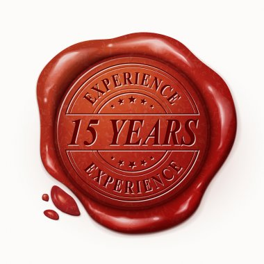 fifteen years 3d red wax seal