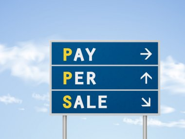 3d illustration pay per sale road sign