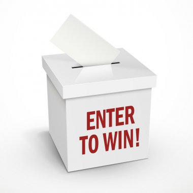 enter to win words on the 3d white voting box