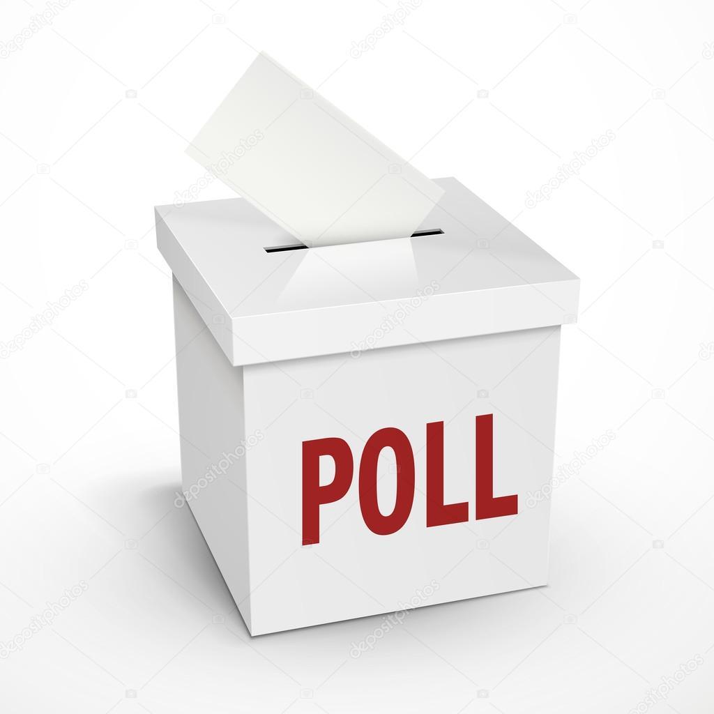 Wort auf 3d weiß das Abstimmungsschaltflächen Umfrage — Stockvektor ...