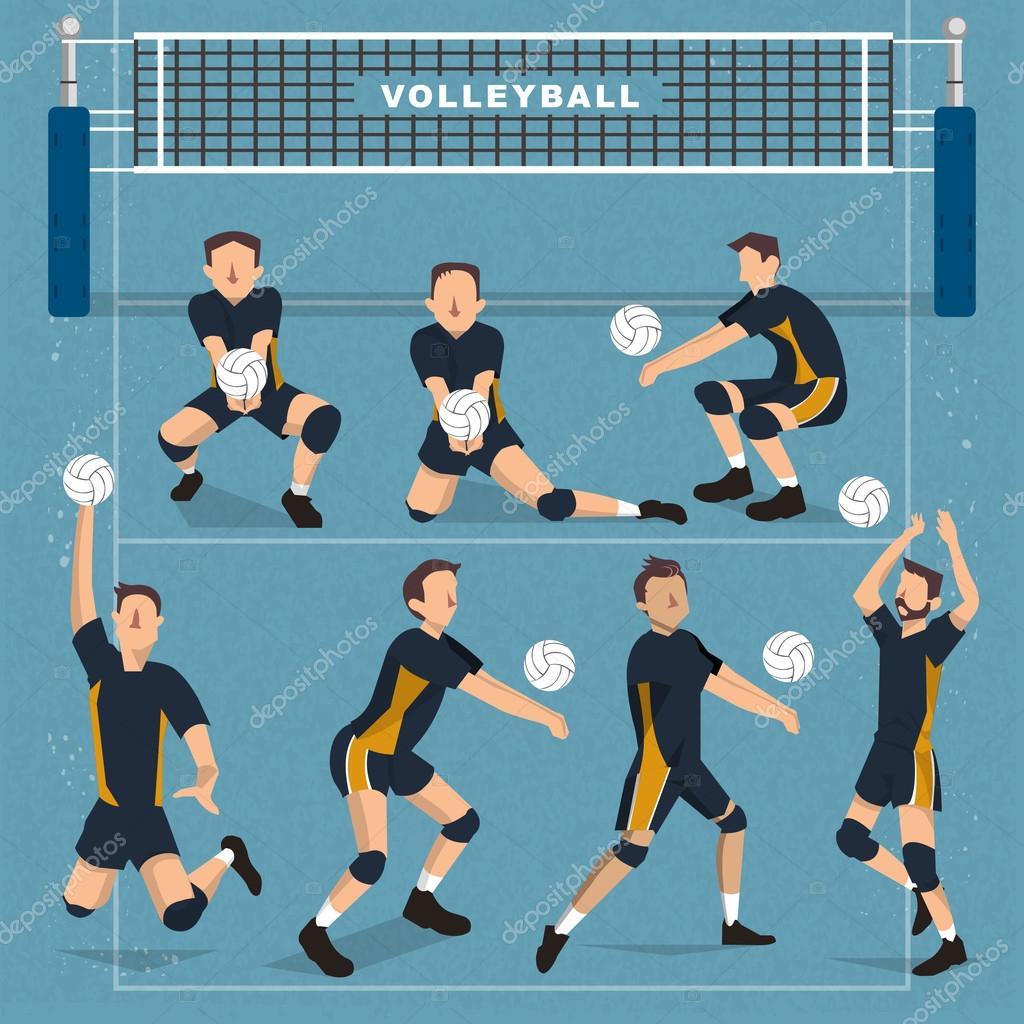 colecci u00f3n de jugadores de voleibol archivo im u00e1genes vectoriales  u00a9 hstrongart 117636068 volleyball vector designs volleyball vector art that can be outlined