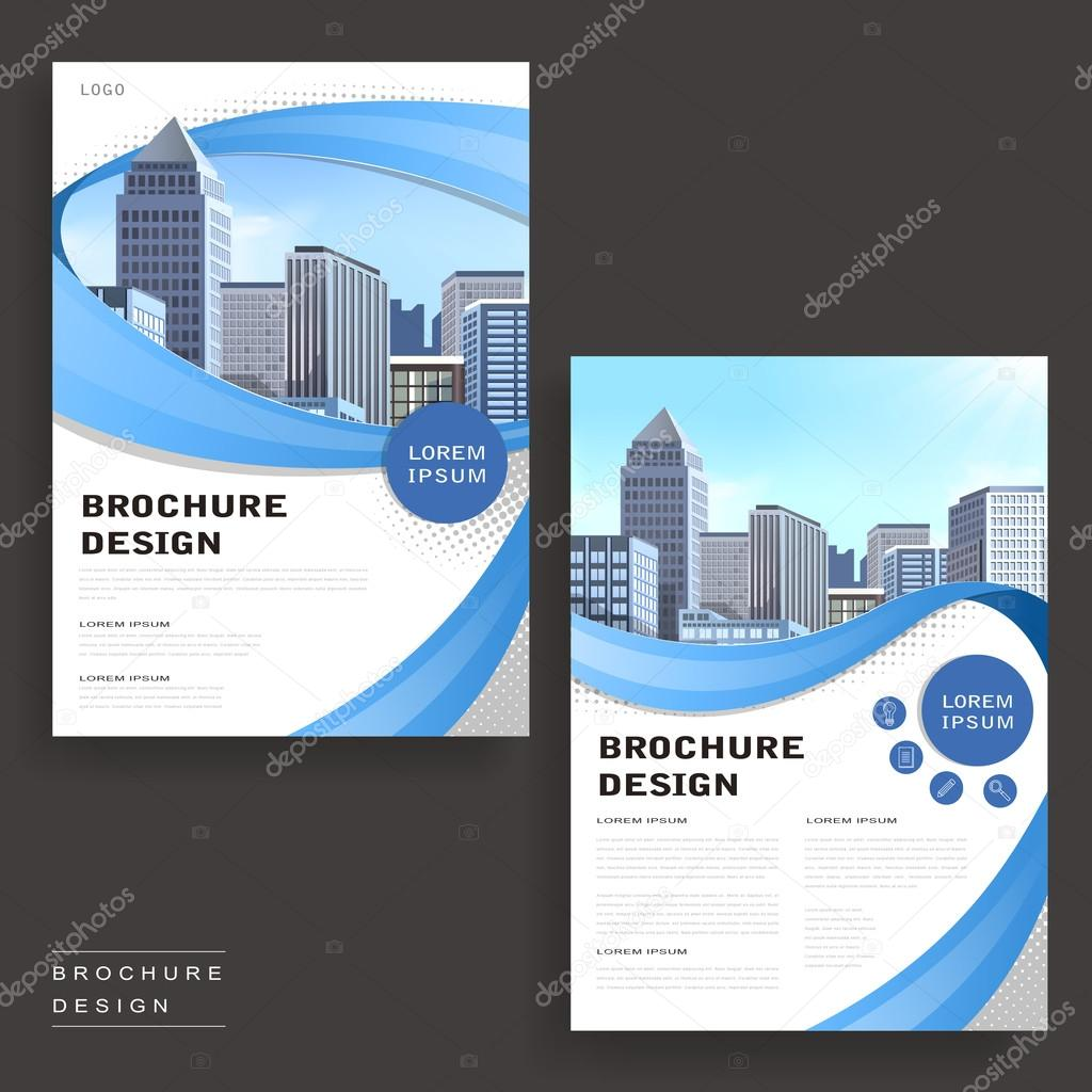 contemporary brochure template design with city landscape and geometric elements vector by hstrongart