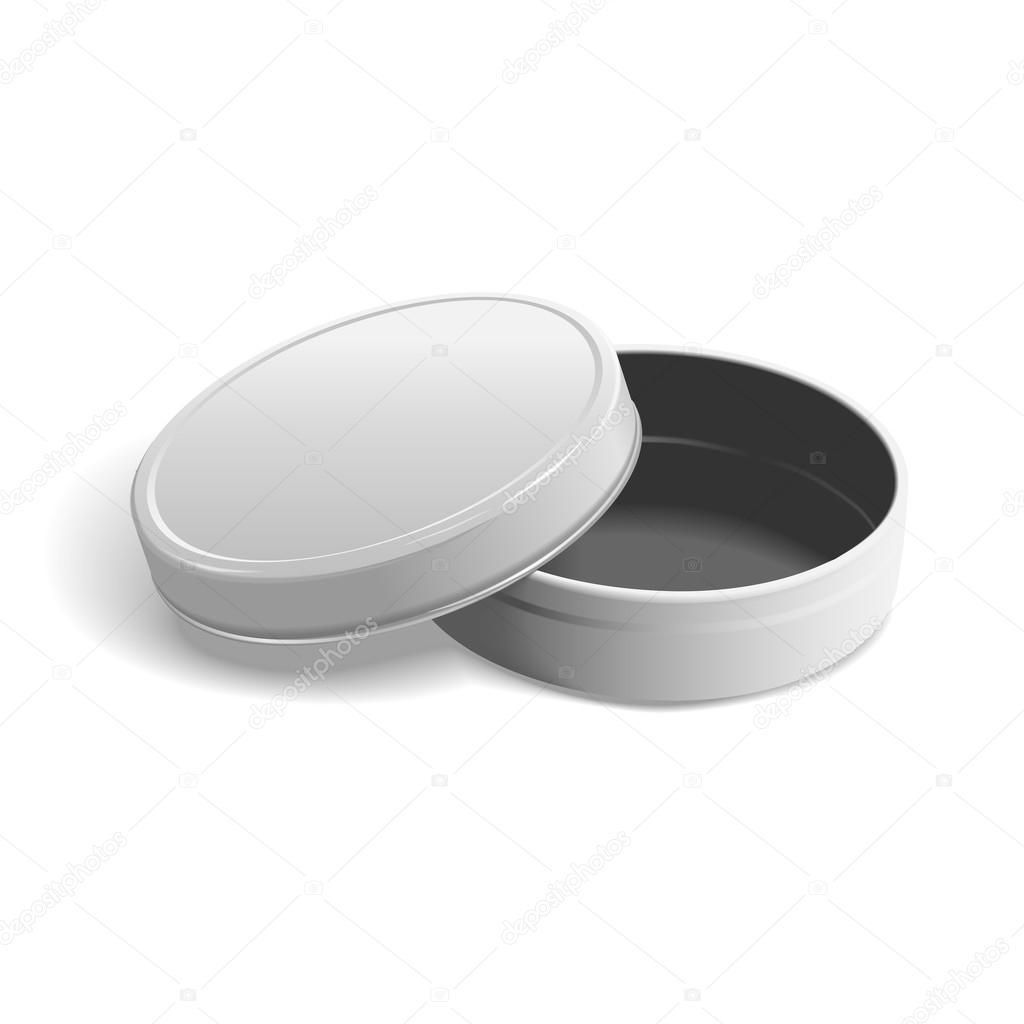 7348f26aa7 Abra a caixa redonda de metal isolada no fundo branco — Vetor por ...