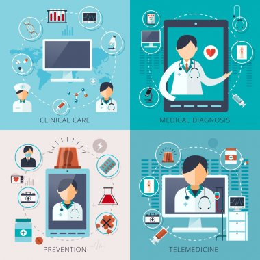 Adorable telemedicine concept collection in flat style stock vector