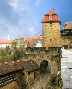 Cityscape of the medieval town gate and gates tower. Rothenburg, Bavaria, Germany.