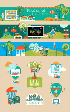 Banners and Logotypes Set for Early Learning