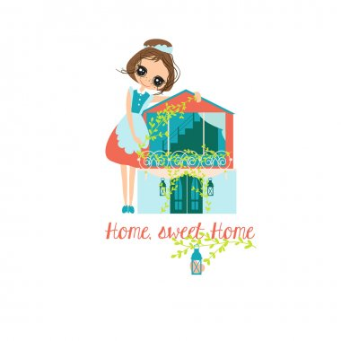 Housewife and House Vector illustration.Home sweet home design. Housewife work cute.