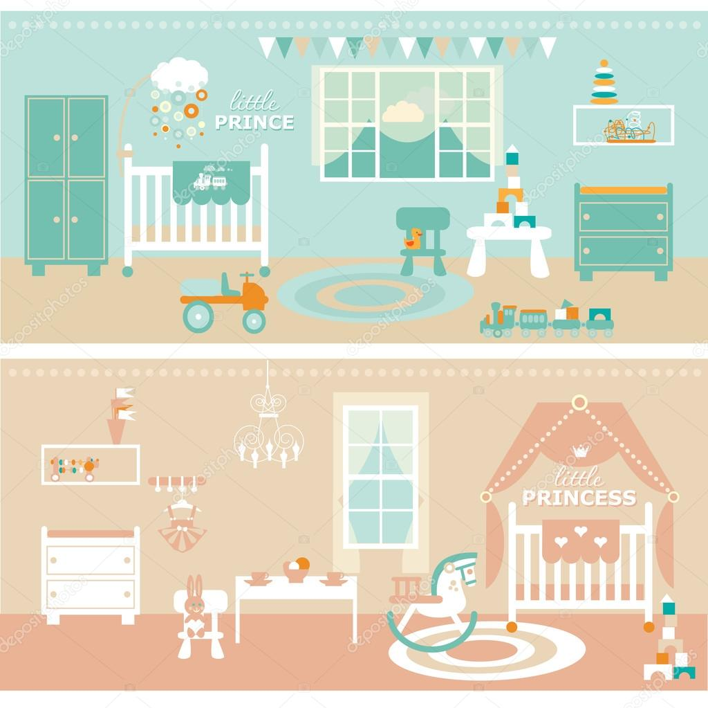 Bebé niña/niño las habitaciones con muebles. Guardería y sala de ...