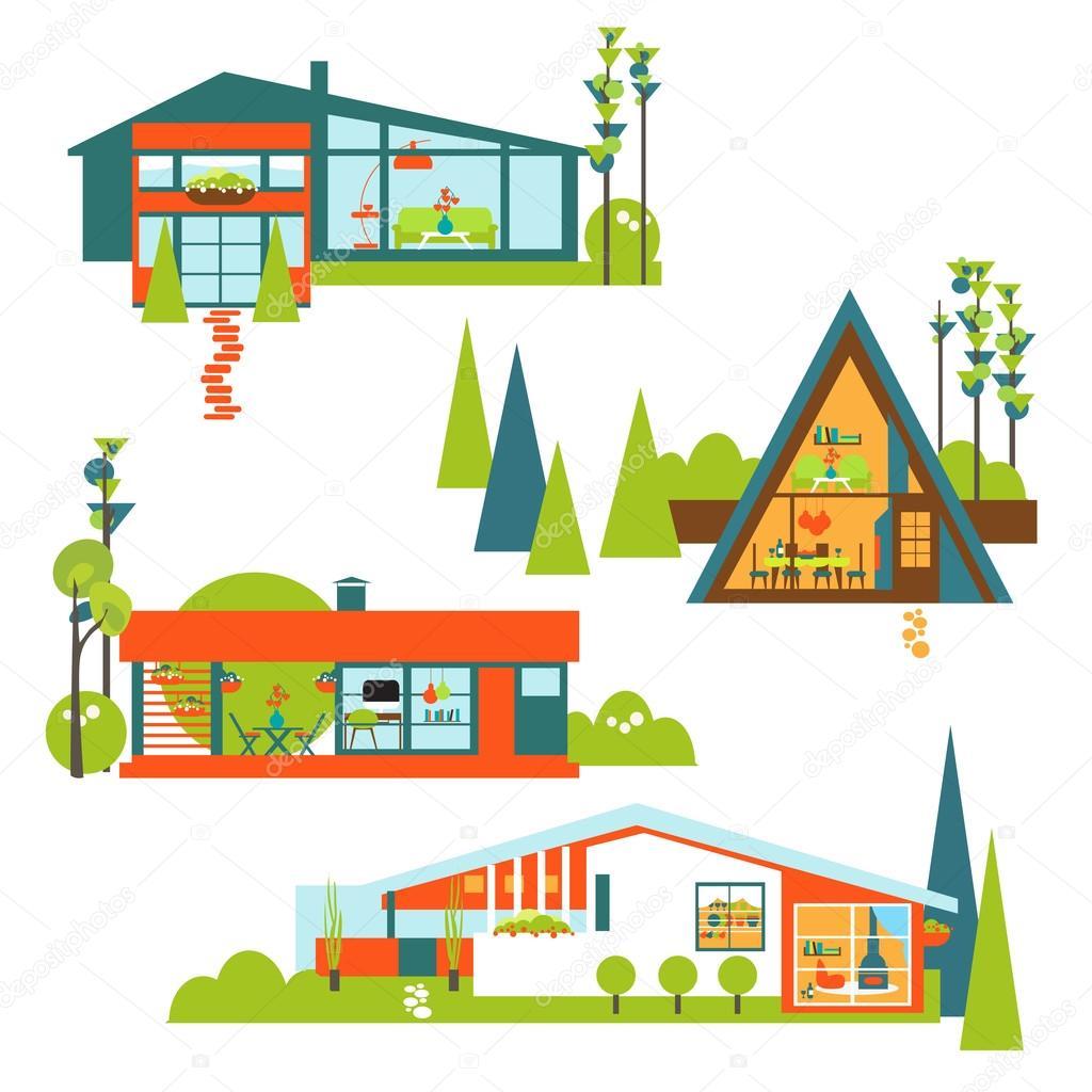 Modernen Öko-Häuser-Exterieur/Interieur-Vektor-Satz. Ökologischen ...