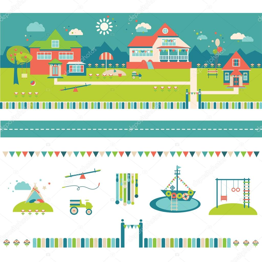 Jardín de infantes, preescolar y guardería edificios y yarda ...