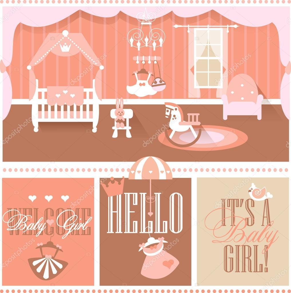 Habitación de niña bebé con muebles. Guardería y sala de juegos ...