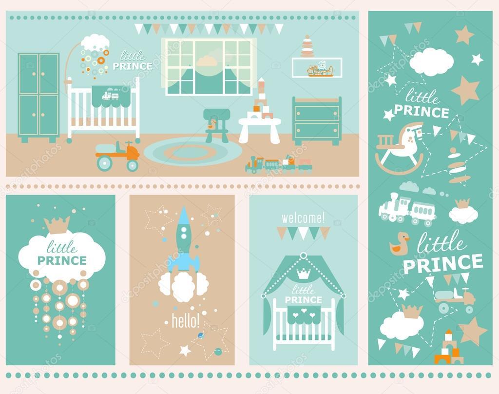 Habitación de bebé niño con muebles. Guardería y sala de juegos ...