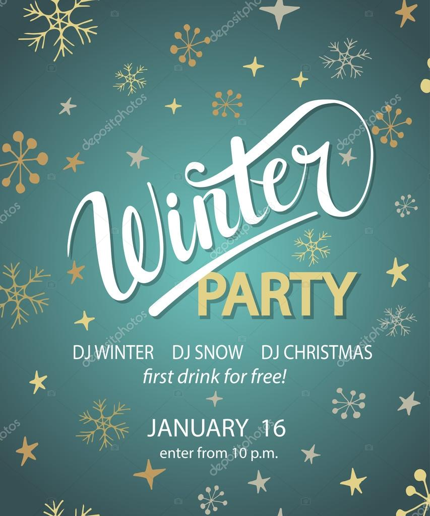 winter party background design template vetor de stock
