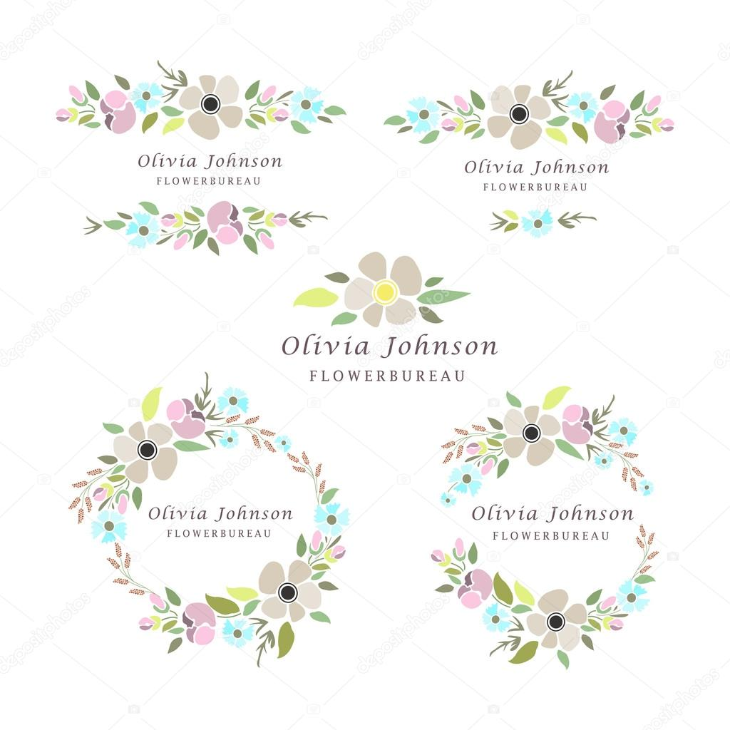 Vector illustration of a floral logotypes set with wreaths
