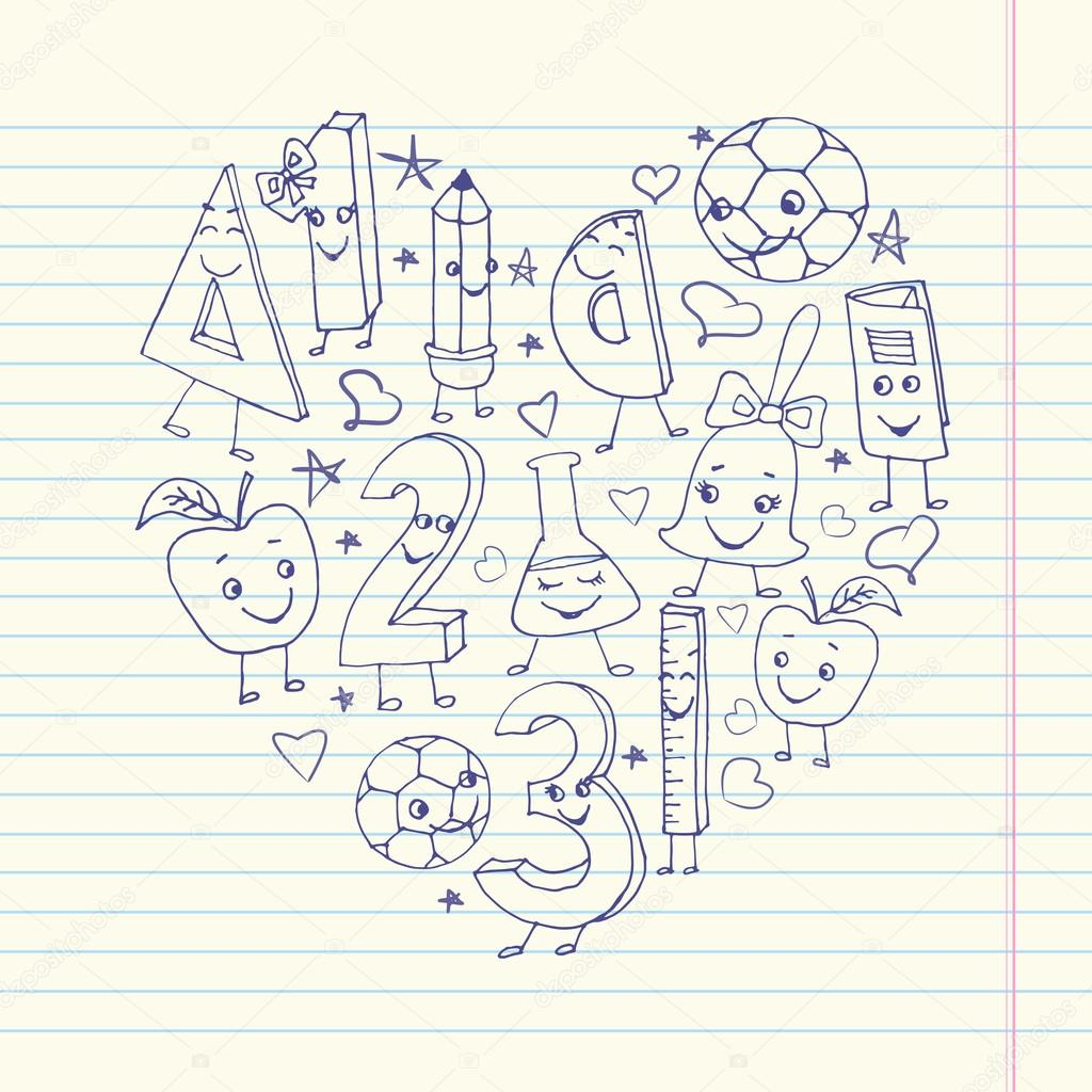 手書きかわいい学校文字練習帳 1 枚に — ストックベクター