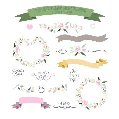 vector illustration of colorful flat design style foral frames,