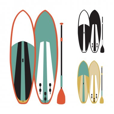 vector illustration of stand up paddle boards