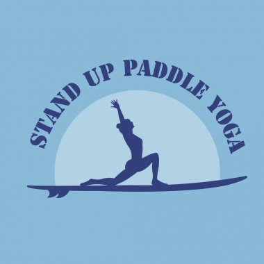 Vector flat design style illustration of stand up padlle yoga lo