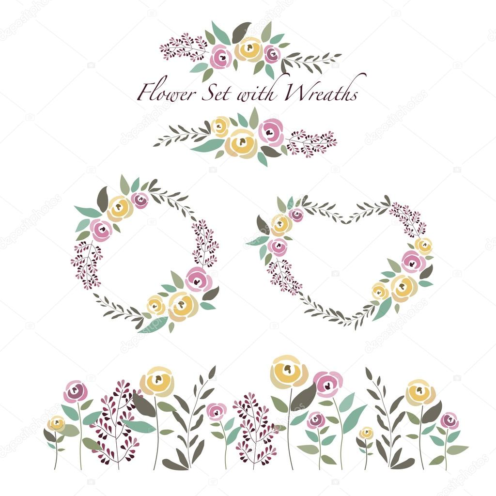 vector illustration of flowers and flower wreaths set in flat de
