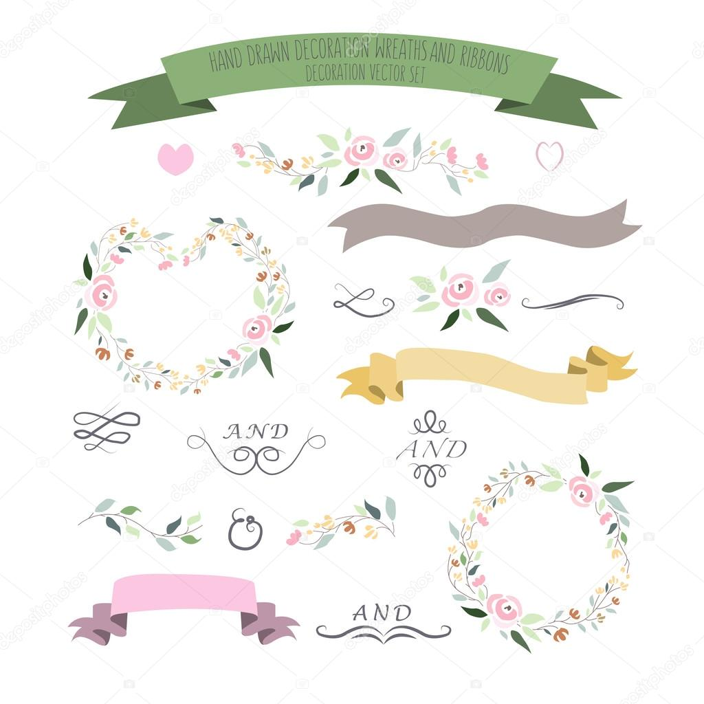 vector illustration of colorful flat design style foral frames,