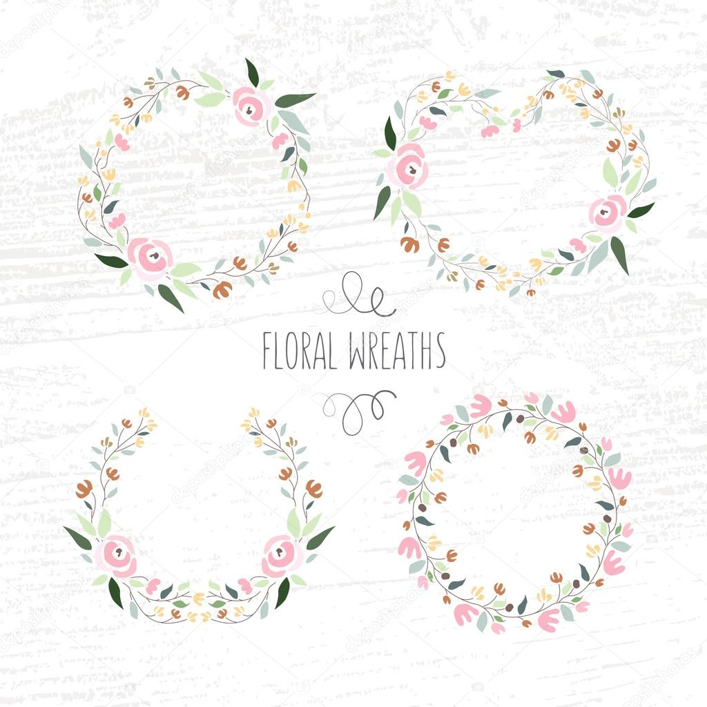 vector illustration of hand drawn pastel flower and floral frame