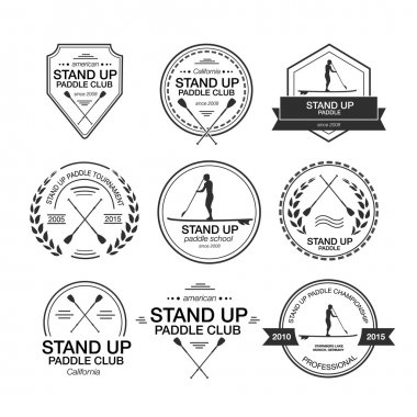 Set of different logo templates for stand up paddling. Athletic
