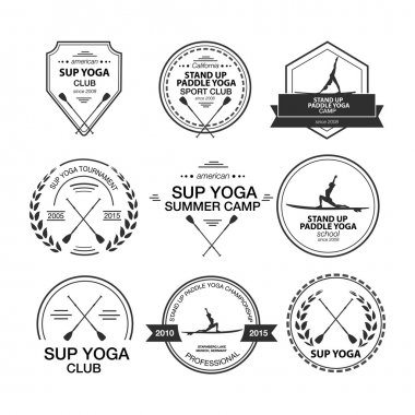 Set of different logotype templates for stand up paddle yoga
