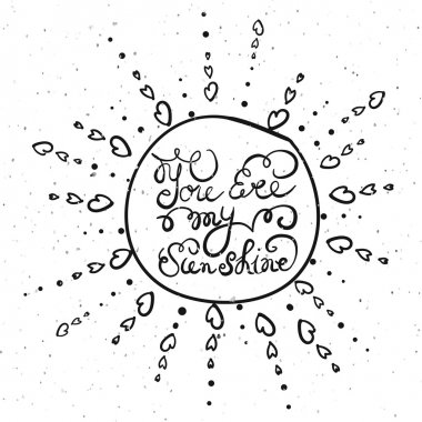 Sun with hand drawn typography poster.
