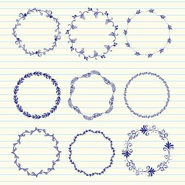 Vector hand sketched wreaths