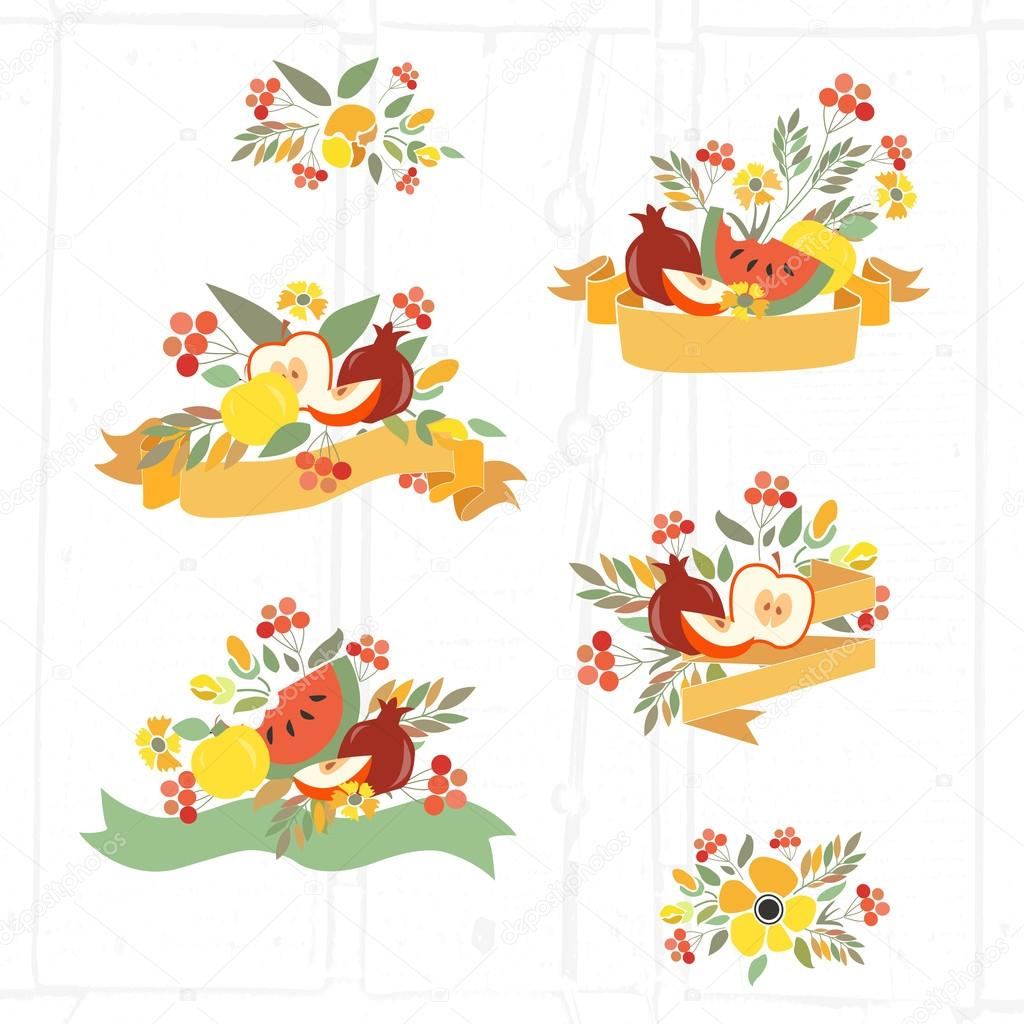 Vector illustration of  autumn floral bundles with fruits