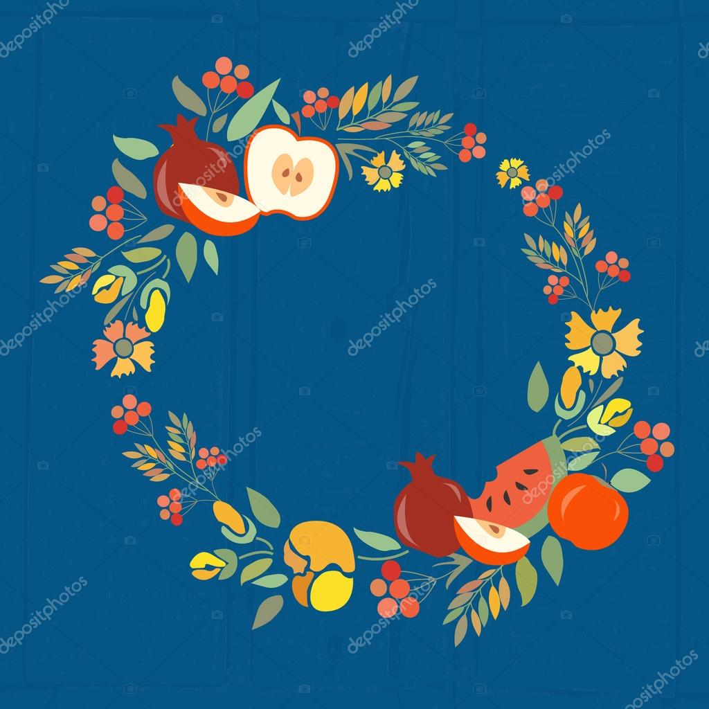 Vector illustration of  autumn floral wreath with fruits
