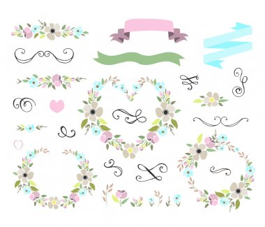 Floral wedding graphic set with wreaths