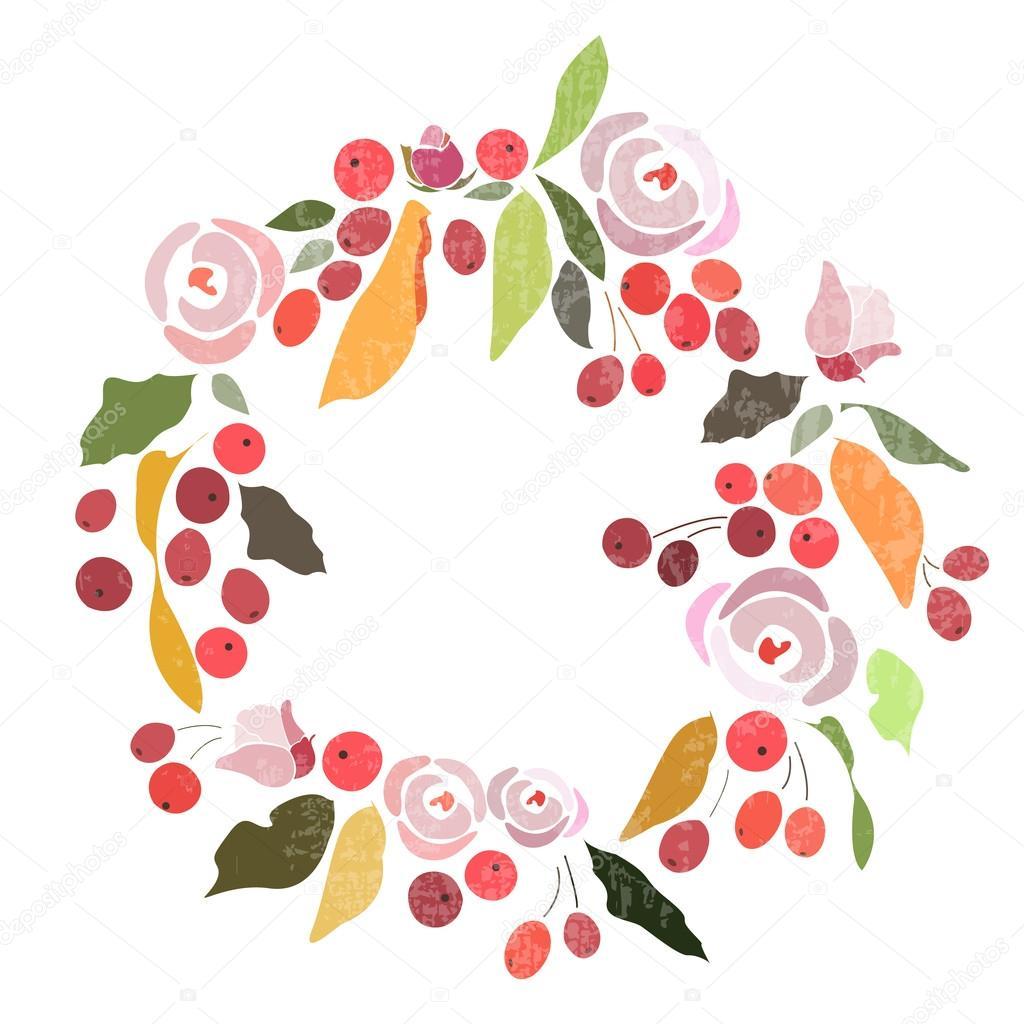 Herbst Winter Hochzeit Blumen Kranz Mit Blumen Stockvektor
