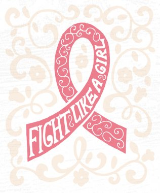 pink ribbon with hand drawn typography poster
