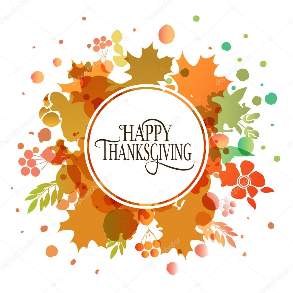 happy thanksgiving day watercolor logotype badge and icon stock