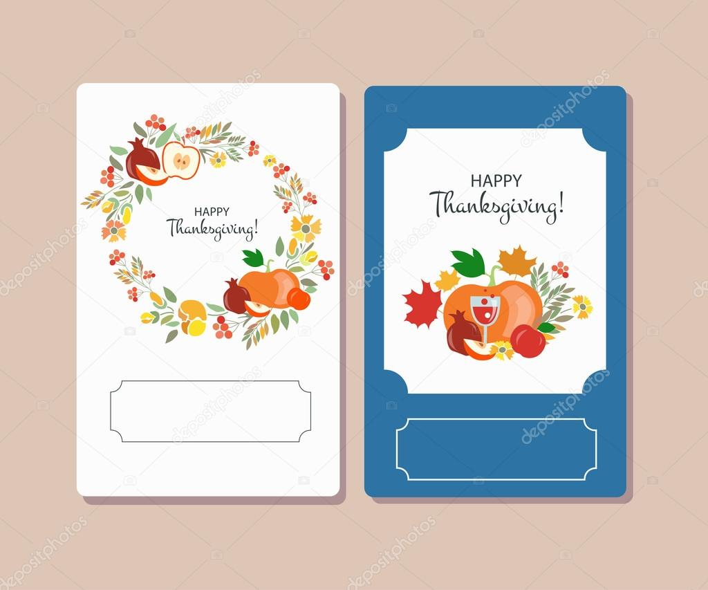 Vector collection of labels and elements for Thanksgiving
